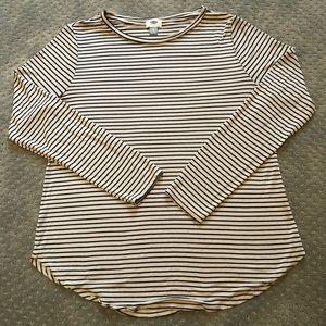 Cream Striped Long Sleeve Tee